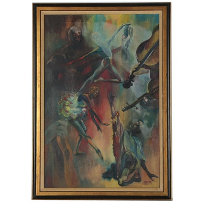 Oil Painting of Ballet Dancers and Musicians