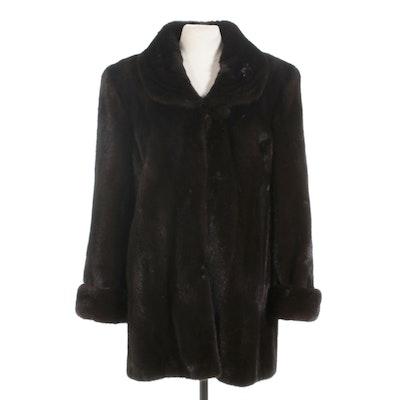 Dark Mahogany Mink Fur Stroller with Turn Back Cuffs, Vintage
