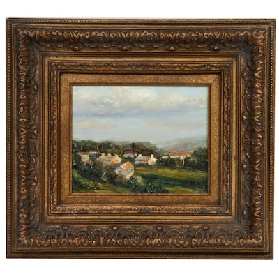 Rural Village Landscape Oil Painting