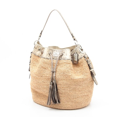 Coach Straw Bucket Shoulder Bag with Tassels and Python Printed Leather Trim