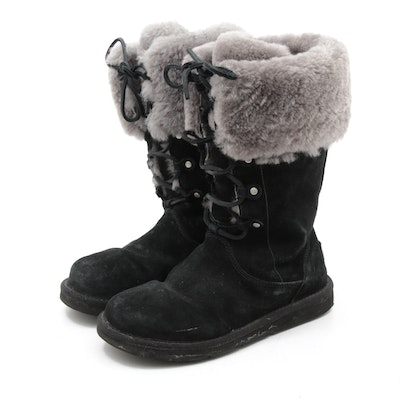 Women's UGG Montclair Black Suede and Grey Shearling Lace-Up Boots