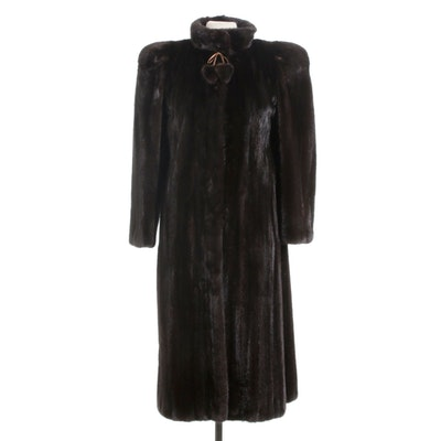 Dark Mahogany Mink Fur Coat with Metallic Leather Bow and Fur Pom Pom, Vintage