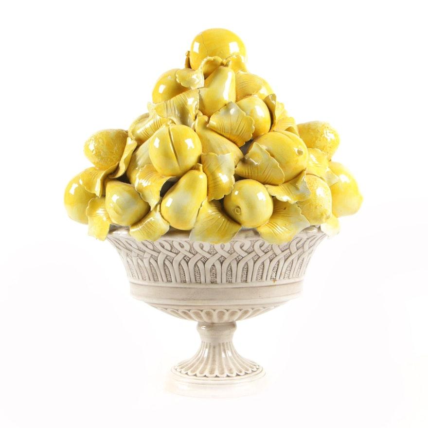 Italian Porcelain Fruit Themed Centerpiece