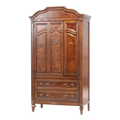 Thomasville Louis XVI Style Walnut-Stained Armoire, Late 20th Century