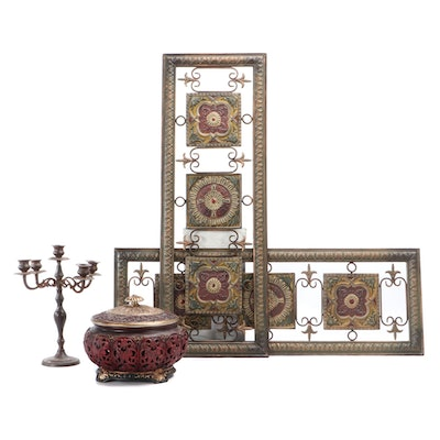 Contemporary Metal Wall Screen Décor, Candelabrum and Reticulated Resin Jar