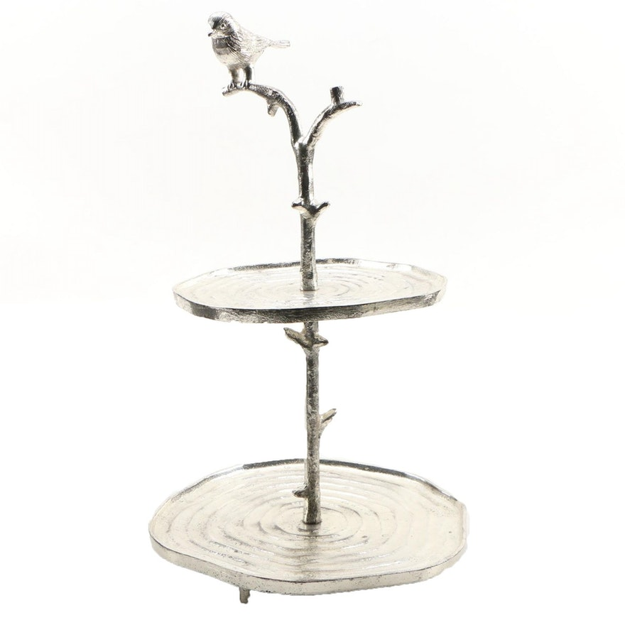 Two's Company 2-Tier Metal Pedestal Serving Dish, Contemporary