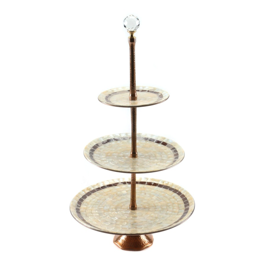 Decorative 3-Tier Hammered Copper and Shell Pedestal Server, Contemporary