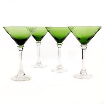 Green Ribbed Martini Glasses