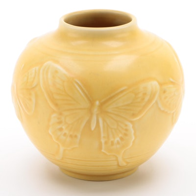 Rookwood Pottery Yellow Glaze Vase with Butterfly Motif, 1942