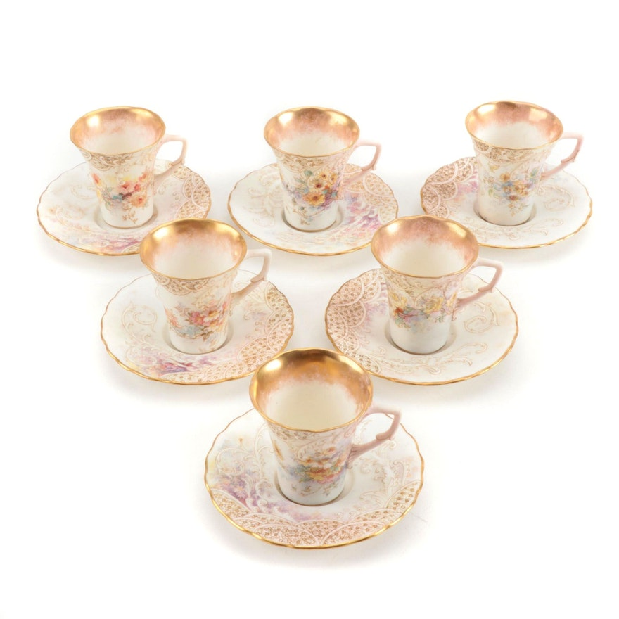 Royal Doulton Hand-Painted Porcelain Demitasse Cups and Saucers, 1891-1901