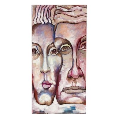 "Fatima Taylor Acrylic Painting ""Memories From Uzbekistan"""