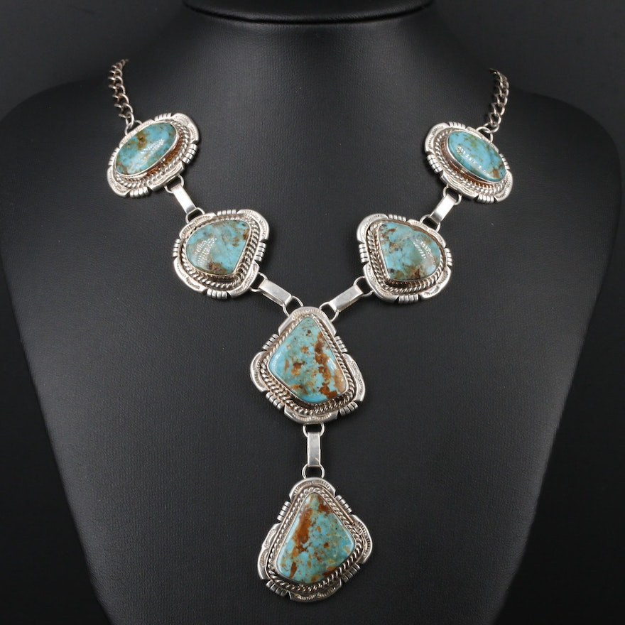 Sterling Silver Turquoise Y Necklace