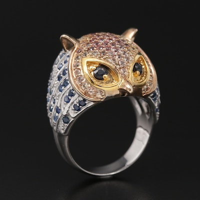Sterling Silver Sapphire and Topaz Owl Dome Ring