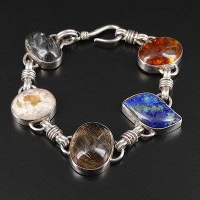Sterling Silver Rutilated Quartz, Boulder Opal and Azurmalachite Bracelet