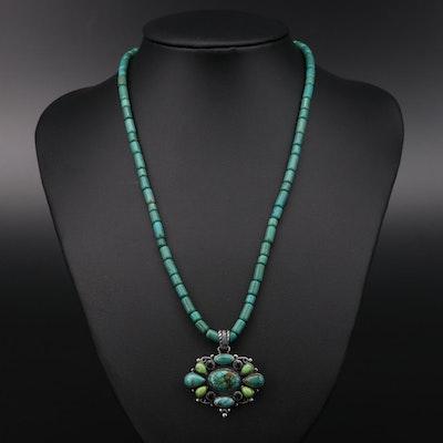 Leo Feeney Southwestern Sterling Turquoise, Gaspeite and Tourmaline Necklace