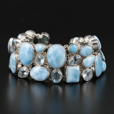 Sterling Silver Larimar and Topaz Bracelet
