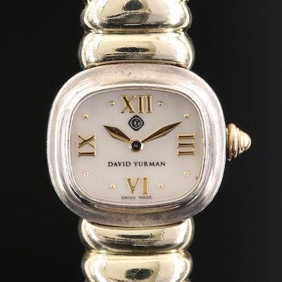 David Yurman Sterling Silver and 14K Gold Wristwatch with Mother of Pearl