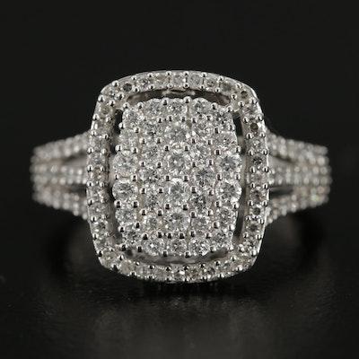 14K White Gold 1.02 CTW Pavé Diamond Ring