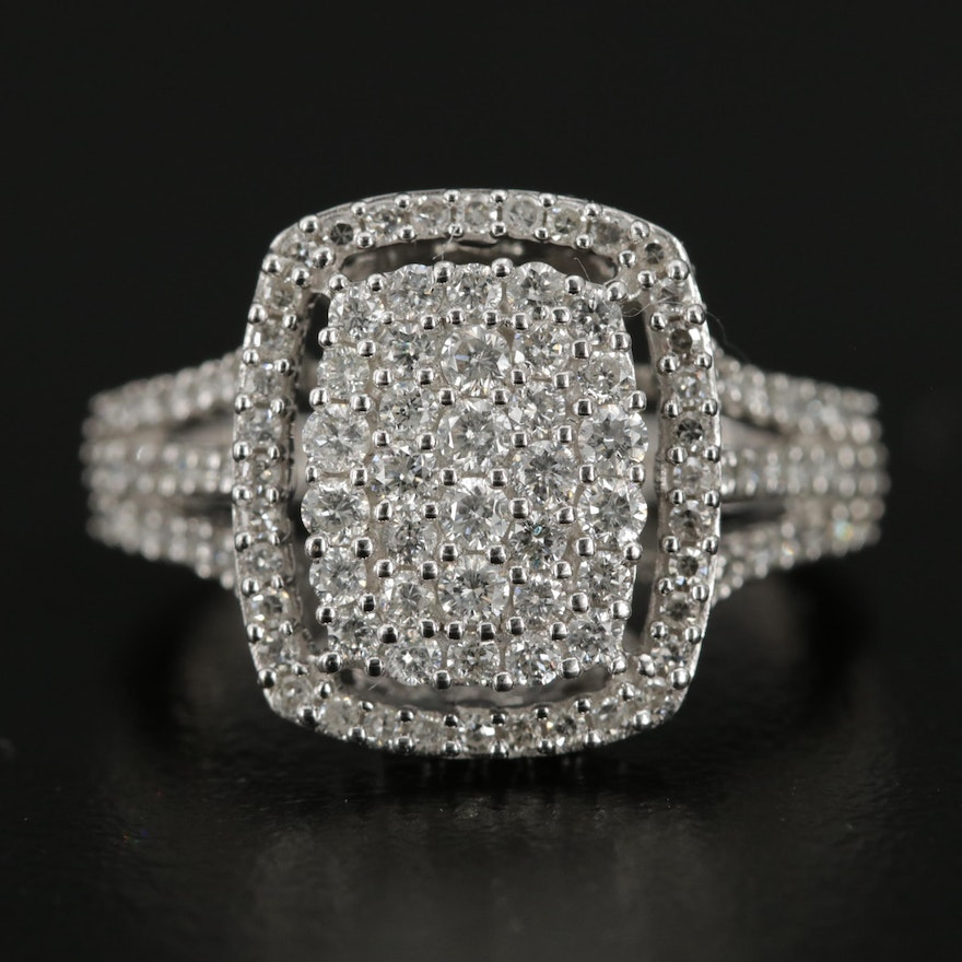 14K White Gold 1.02 CTW Pavé Diamond Ring