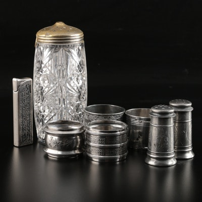 Flamex Brougham Electronic Lighter, Silver Plate Napkin Rings and More, Vintage
