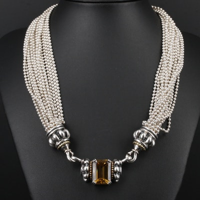 Caviar by Lagos Sterling Citrine and Black Onyx Pendant Necklace with 18K Accent