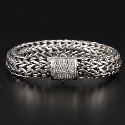"""John Hardy """"Classic Chain"""" Sterling Diamond Bracelet with 18K Gold Accents"""