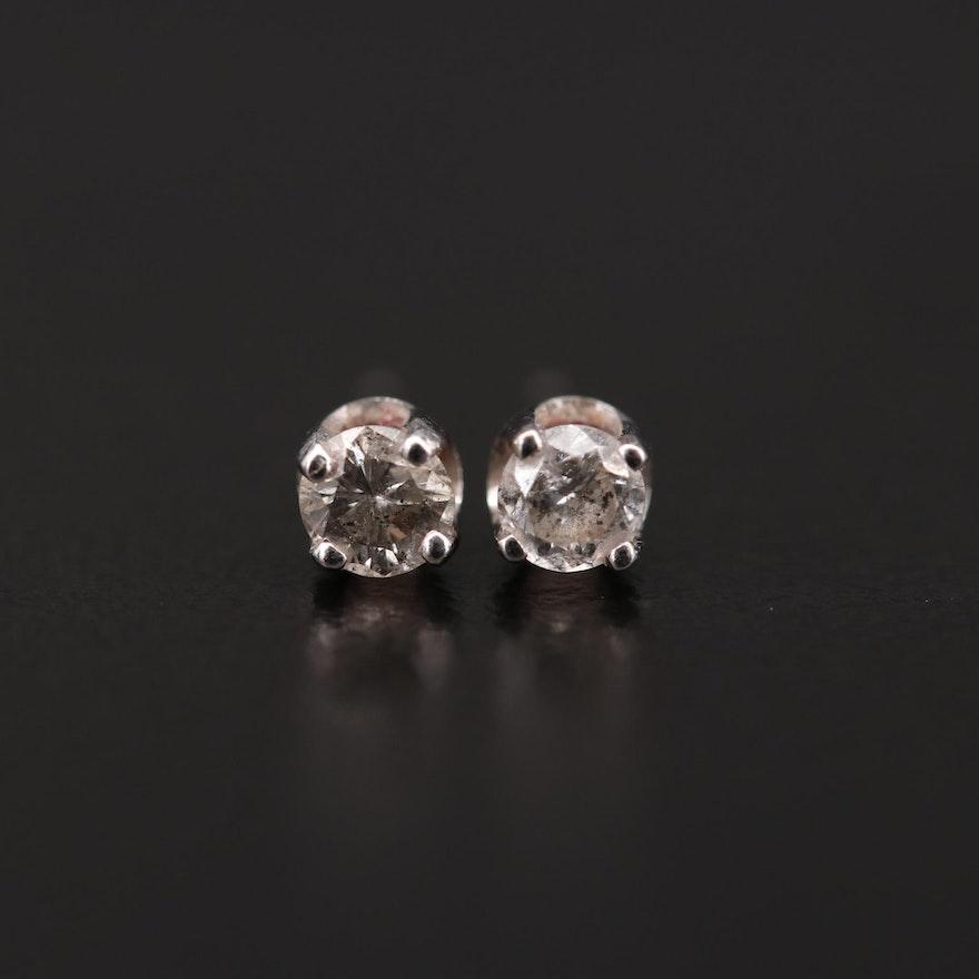 14K White Gold 0.30 CTW Diamond Solitaire Stud Earrings