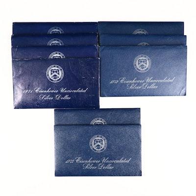 Nine Uncirculated Eisenhower Silver Dollars, 1971 to 1973
