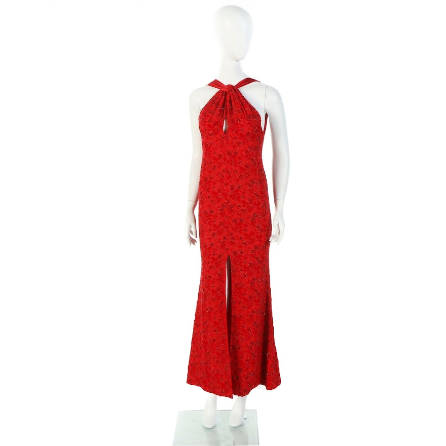 """Donald Deal Red Beaded Halter Dress Worn at """"Woman's Day"""" Red Dress Awards, 2019"""