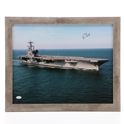 George H.W. Bush Signed U.S. Naval Supercarrier Framed Photo Print, JSA COA