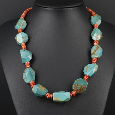 Sterling Silver Turquoise and Spiny Oyster Bead Necklace