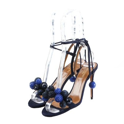 Aquazzura Disco Thing Blue Suede and Sequin Strappy Heels Signed by Susan Lucci
