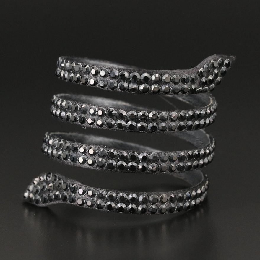René Caovilla Crystal Rhinestone Snake Bracelet with Susan Lucci Signed Box