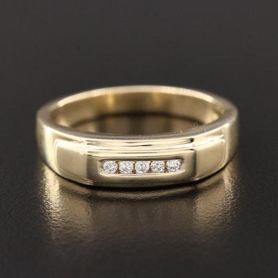 10K Yellow Gold Diamond Tapered Band