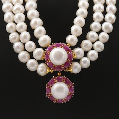 Triple Strand Pearl and Ruby Festoon Necklace with Sterling Silver Clasp