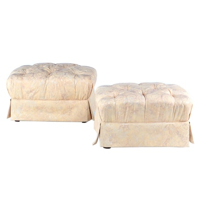 Pair of Century Furniture Button-Tufted Damask Footstools, Late 20th Century