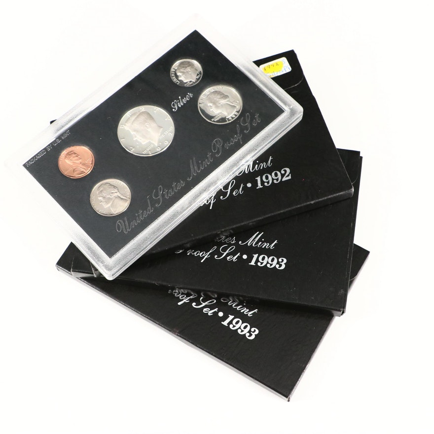 Four U.S. Mint Silver Proof Sets, 1992 and 1993