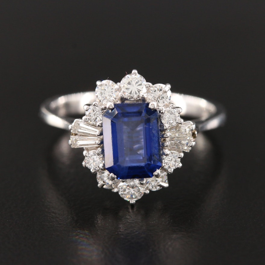 14K White Gold 2.30 CT Sapphire and Diamond Halo Ring