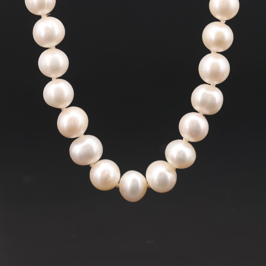 Pearl Individually Knotted Necklace with 14K White Gold Clasp