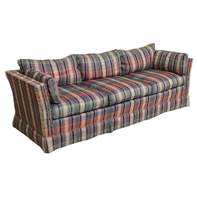 Plaid Upholstered Sofa, Contemporary