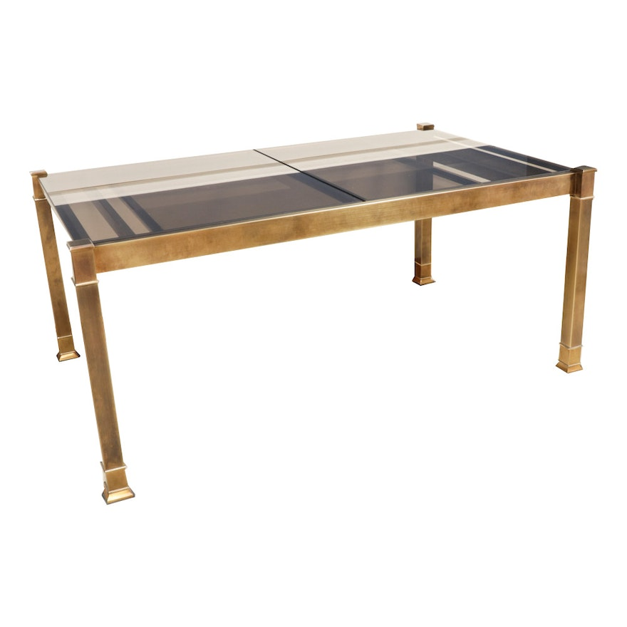 Slide Out Glass Top and Brass Finish Table