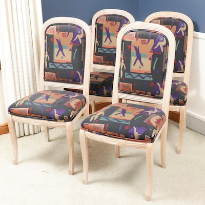 Classic Gallery Upholstered Dining Chairs, Late 20th Century