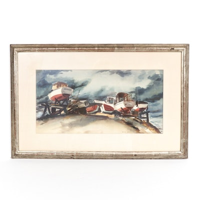 David Shaw Boat Yard Watercolor Painting