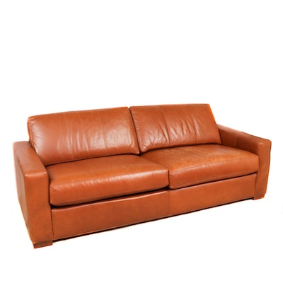 Ethan Allen Brown Leather Sofa, 2000s