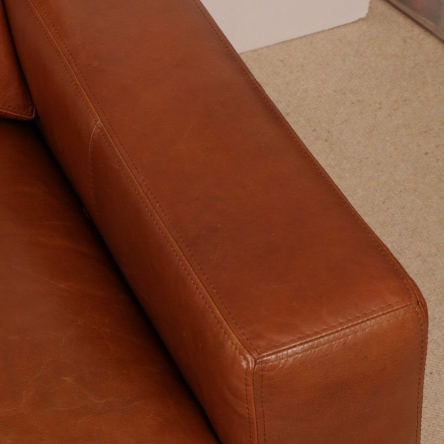 Ethan Allen Brown Leather Sofa 2000s Ebth