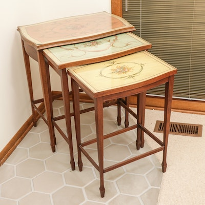 Floral Motif Glass Top Nesting Tables, Early 20th Century
