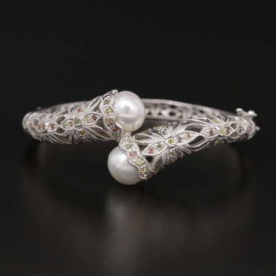 Sterling Pearl and Sapphire Bypass Bracelet