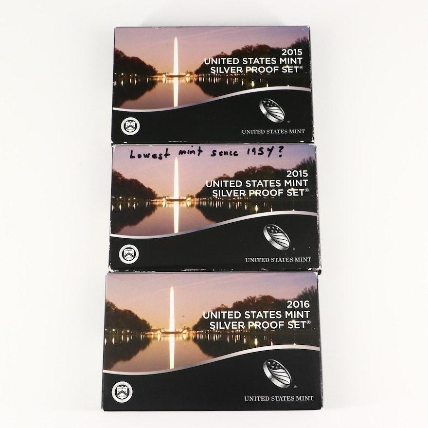 Three U.S. Mint Silver Proof Sets, 2015 to 2016