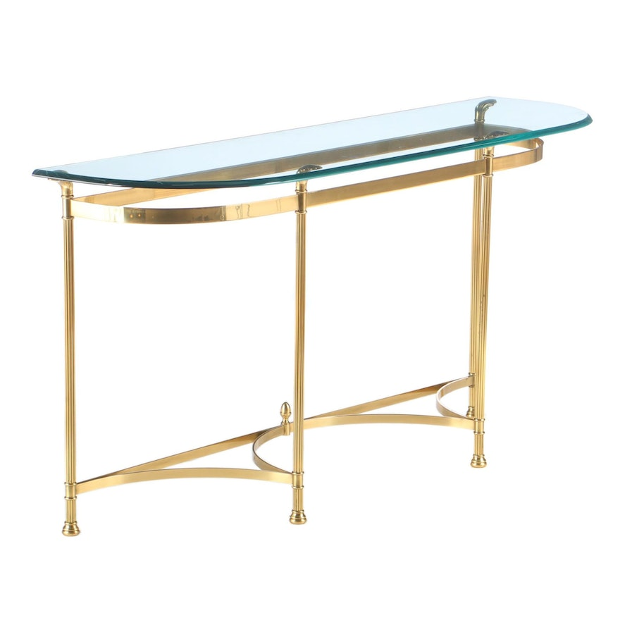 LeBarge Brass and Glass Console Table, Late 20th Century