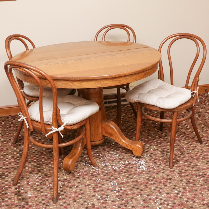 Oak Dining Table with Ice Cream Parlor Chairs, Mid to Late 20th Century